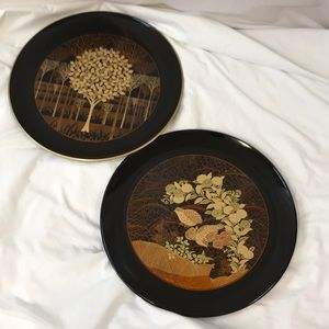 Set of 2 Otagiri Handcrafted Decorative Plates 12""